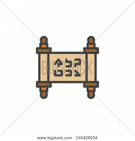 Papyrus Scroll Filled Outline Icon, Line Vector Sign, Linear Colorful Pictogram Isolated On White. P