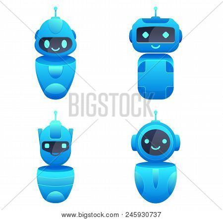 Smiling Colorful Chatbots Character Set. Helping Robots. Vector Illustration. Flat Cartoon Style. Is