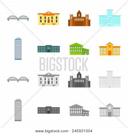 Skyscraper, Police, Hotel, School.building Set Collection Icons In Cartoon, Monochrome Style Vector