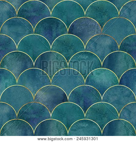 Mermaid Fish Scale Wave Japanese Luxury Seamless Pattern. Watercolor Hand Drawn Dark Blue Teal Green
