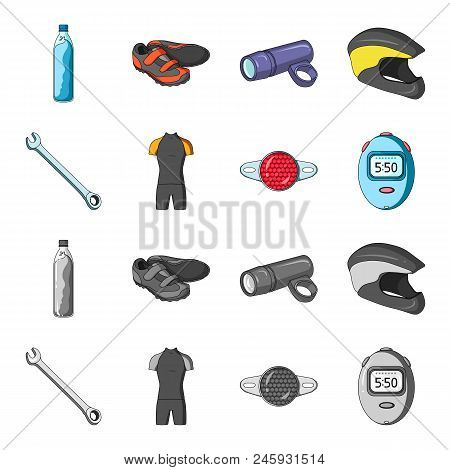 A Wrench, A Bicyclist Bone, A Reflector, A Timer.cyclist Outfit Set Collection Icons In Cartoon, Mon
