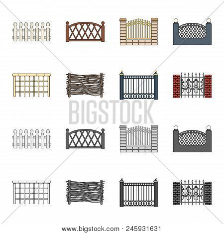 A Fence Of Metal And Bricks, Wooden Palisade. A Different Fence Set Collection Icons In Cartoon, Mon