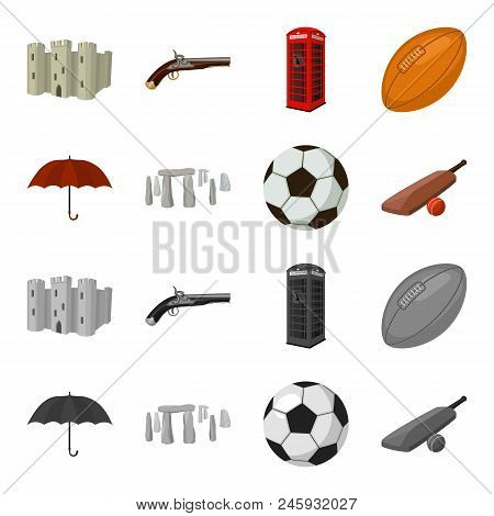 Umbrella, Stone, Ball, Cricket .england Country Set Collection Icons In Cartoon, Monochrome Style Ve