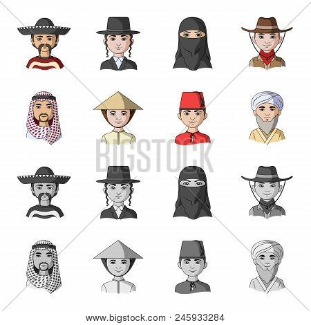 Arab, Turks, Vietnamese, Middle Asia Man. Human Race Set Collection Icons In Cartoon, Monochrome Sty