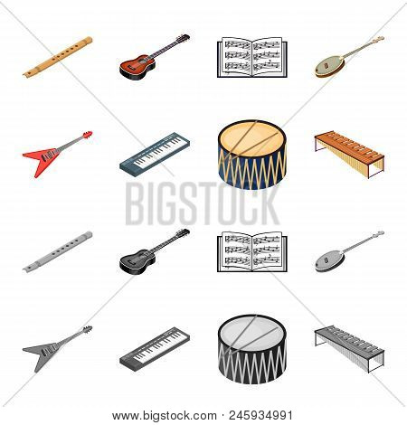 Musical Instrument Cartoon, Monochrome Icons In Set Collection For Design. String And Wind Instrumen