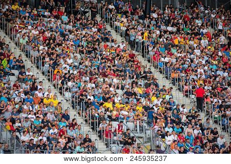 Crowd Of Soccer Fans In The Tribune