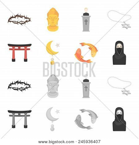 Torii, Carp Koi, Woman In Hijab, Star And Crescent. Religion Set Collection Icons In Cartoon, Monoch