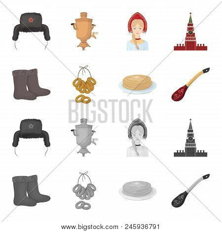 Felt, Boots, Drying, Gingerbread .russia Country Set Collection Icons In Cartoon, Monochrome Style V
