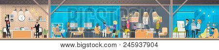 Coworking Space With Working Together Freelance Coworkers And Business People Flat Vector Concept. M