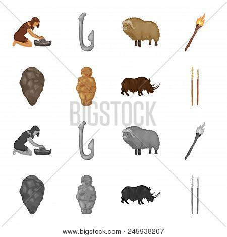 Primitive, Woman, Man, Cattle .stone Age Set Collection Icons In Cartoon, Monochrome Style Vector Sy