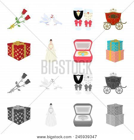 Wedding And Attributes Cartoon, Monochrome Icons In Set Collection For Design.newlyweds And Accessor