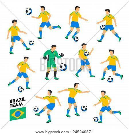 Brazil Football Team. Brazil Soccer Players. Full Football Team, 11 Players. Soccer Players On Diffe