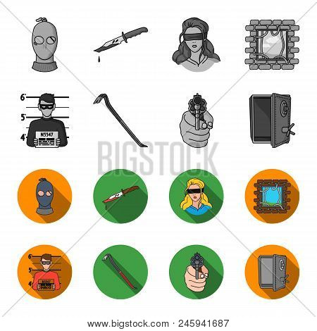 Photo Of Criminal, Scrap, Open Safe, Directional Gun.crime Set Collection Icons In Monochrome, Flat