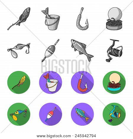 Fishing, Fish, Catch, Hook .fishing Set Collection Icons In Monochrome, Flat Style Vector Symbol Sto