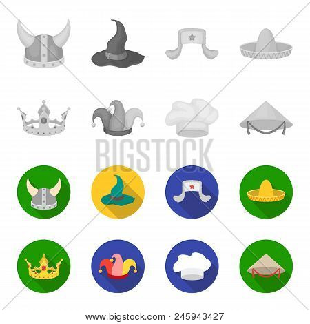 Crown, Jester Cap, Cook, Cone. Hats Set Collection Icons In Monochrome, Flat Style Vector Symbol Sto