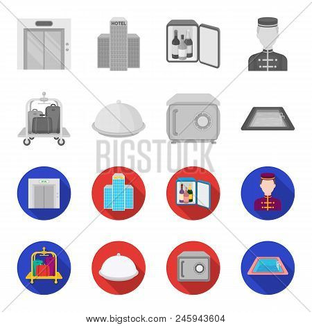 Trolley With Luggage, Safe, Swimming Pool, Clutch.hotel Set Collection Icons In Monochrome, Flat Sty