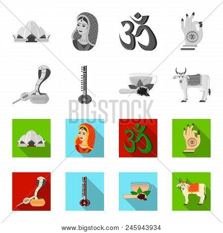 Country India Monochrome, Flat Icons In Set Collection For Design.india And Landmark Vector Symbol S