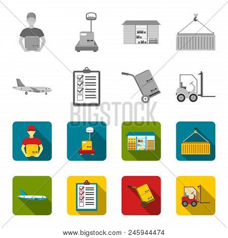 Cargo Plane, Cart For Transportation, Boxes, Forklift, Documents.logistic, Set Collection Icons In M