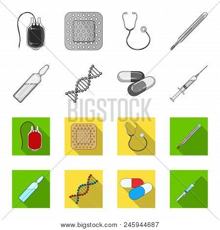 Human Dna And Other Equipment.medicine Set Collection Icons In Monochrome, Flat Style Vector Symbol
