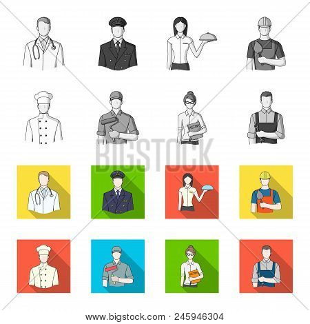 Cook, Painter, Teacher, Locksmith Mechanic.profession Set Collection Icons In Monochrome, Flat Style