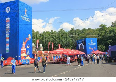 St. Petersburg, Russia - June 18, 2018: Football Fans At Fifa World Cup Russia 2018 Fan Fest. Footba