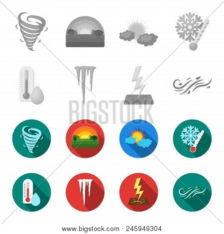 Humidity, Icicles, Thunderbolt, Windy Weather. Weather Set Collection Icons In Monochrome, Flat Styl