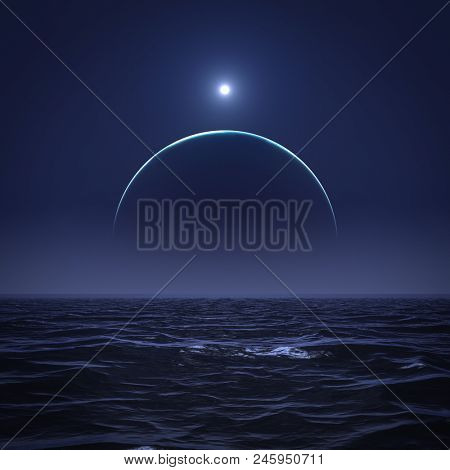 3d illustration of the moon and the sun over the ocean