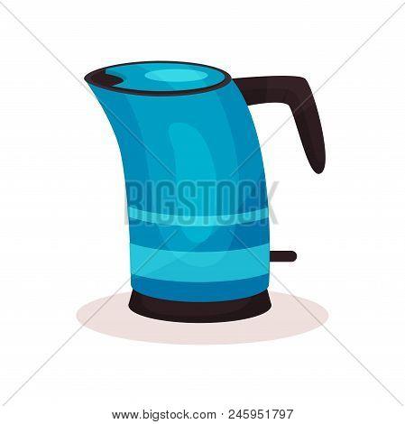 Cartoon Illustration Of Bright Blue Steel Kettle With Black Plastic Handle. Modern Kitchen Appliance