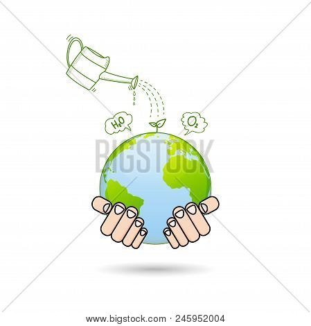 Doodle Of Watering Pot Pour Water On Young Plant, Afforest For World Environment And Ecology Friendl