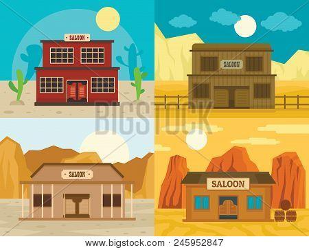 Saloon Pub Wild West Banner Concept Set. Flat Illustration Of 4 Saloon Pub Wild West Vector Banner C