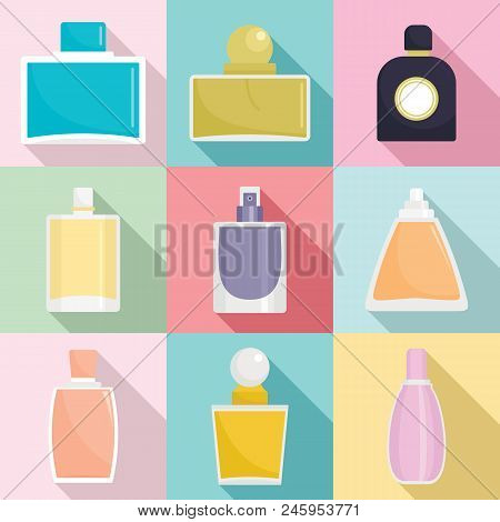 Fragrance Bottles Aroma Flavor Perfume Icons Set. Flat Illustration Of 9 Fragrance Bottles Aroma Fla