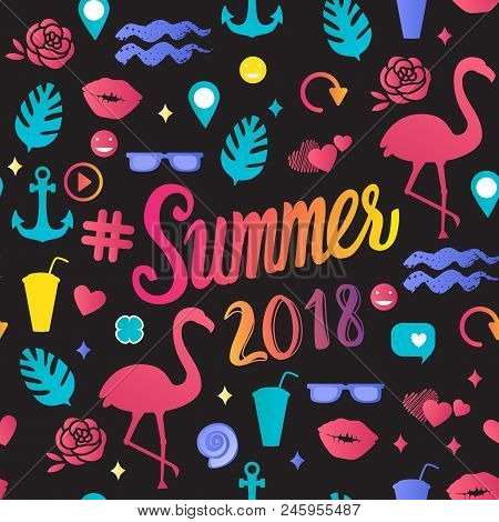 Vector Seamless Pattern Summer 2018 Inscription With Trend Illustrations Isolated On Black Backgroun