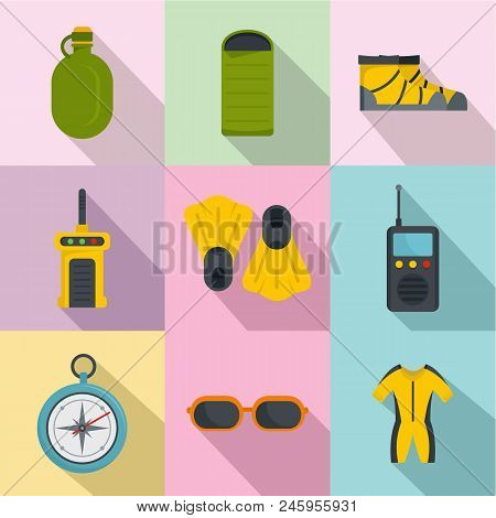 Diving Icons Set. Flat Set Of 9 Diving Vector Icons For Web Isolated On White Background