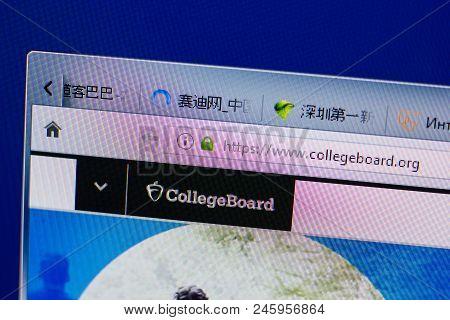 Ryazan, Russia - June 16, 2018: Homepage Of Collegeboard Website On The Display Of Pc, Url - College