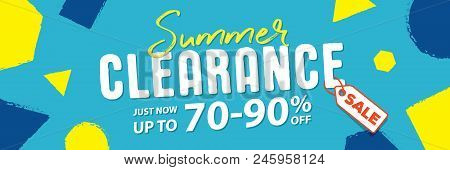 Summer Clearance 70 To 90 Percent Off Banner Vector Heading Design Fun Style For Banner Or Poster. S