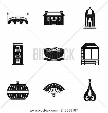European Street Icons Set. Simple Set Of 9 European Street Vector Icons For Web Isolated On White Ba