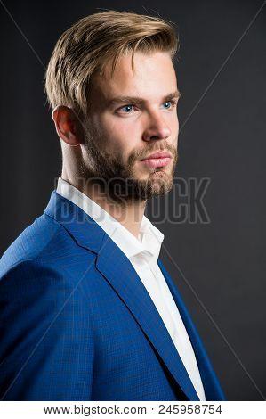 Fashion Style For Men. Man In Formal Wear. Confident Businessman. Face Of Plenary Leadership, Busine