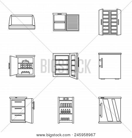 Refrigerating Chamber Icons Set. Outline Set Of 9 Refrigerating Chamber Vector Icons For Web Isolate