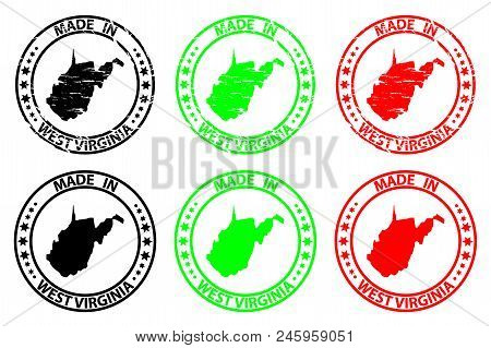 Made In West Virginia - Rubber Stamp - Vector, West Virginia (united States Of America) Map Pattern