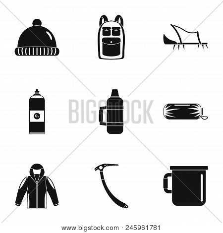 Mountaineer Icons Set. Simple Set Of 9 Mountaineer Vector Icons For Web Isolated On White Background