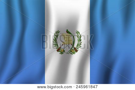 Guatemala Realistic Waving Flag Vector Illustration. National Country Background Symbol. Independenc