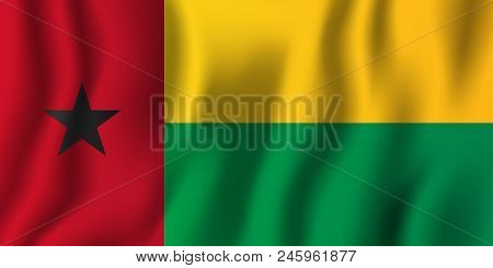 Guinea-bissau Realistic Waving Flag Vector Illustration. National Country Background Symbol. Indepen