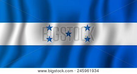 Honduras Realistic Waving Flag Vector Illustration. National Country Background Symbol. Independence