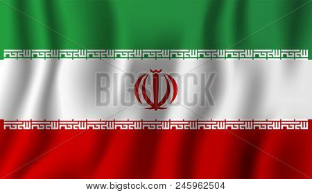 Iran Realistic Waving Flag Vector Illustration. National Country Background Symbol. Independence Day