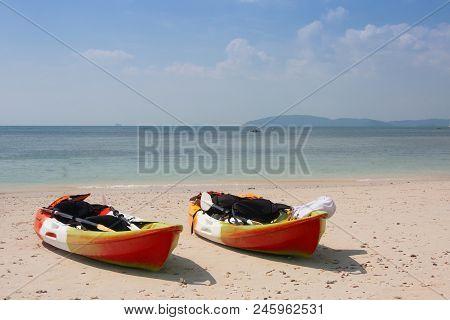 Kayak On The White Beach  At Phuket , Thailand