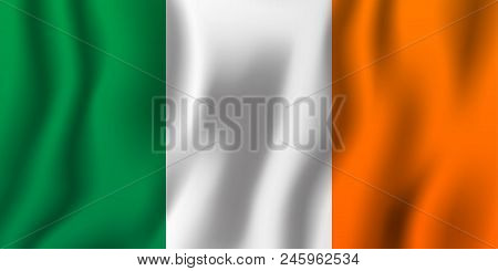 Ireland Realistic Waving Flag Vector Illustration. National Country Background Symbol. Independence
