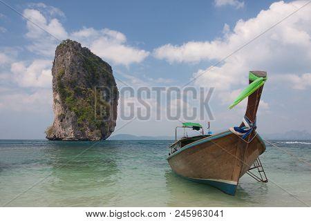 Traditional Thai Longtail Boat At  Poda Island ,thailand