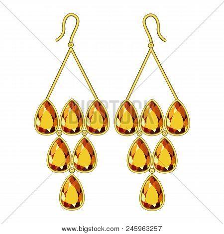 Topaz Earrings Mockup. Realistic Illustration Of Topaz Earrings Vector Mockup For Web Design Isolate