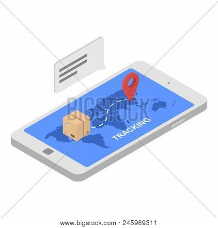 Tracking Shipped Box Icon. Isometric Of Tracking Shipped Box Vector Icon For Web Design Isolated On