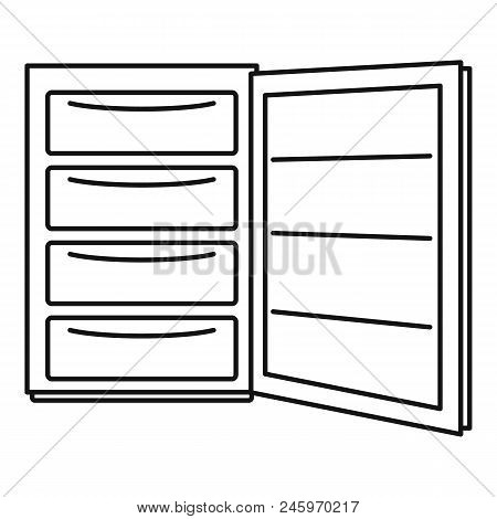 Open Refrigerator Icon. Outline Illustration Of Open Refrigerator Vector Icon For Web Design Isolate